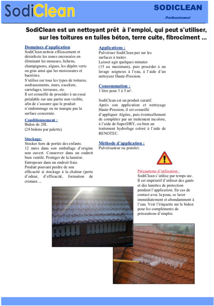 Fiche produit du démoussant pour toiture