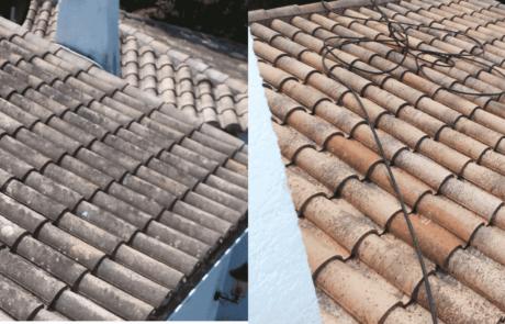 Hydrofugation en cours sur une toiture dans l'hérault