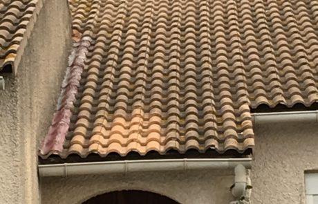 Hydrofugation sur une infime partie du toit pour comparaison