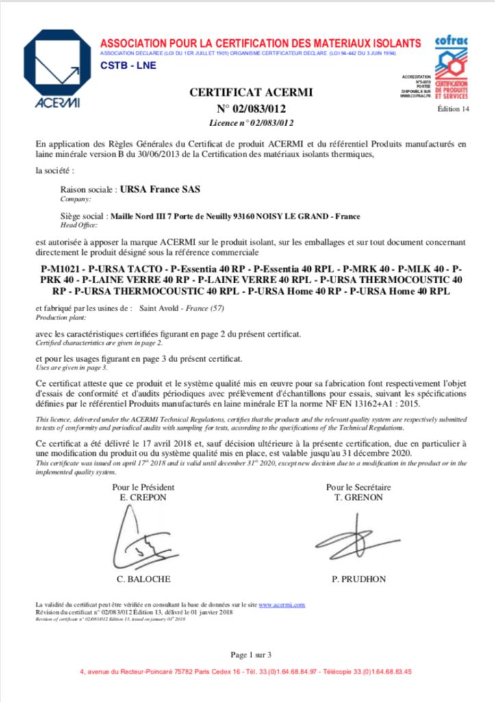 Certification ACERMI de la laine de verre