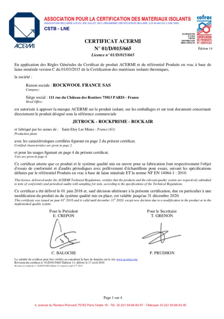 Certification ACERMI de la laine de roche