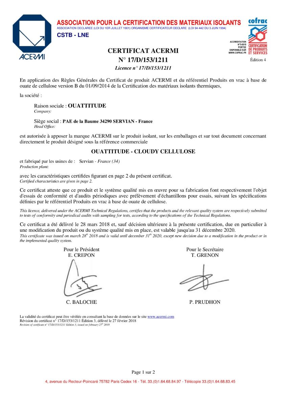 Certification ACERMI de la ouate de cellulose permettant de la comparer aux autres isolants